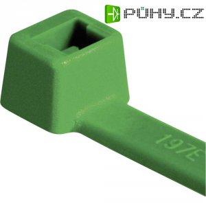 Stahovací pásky HellermannTyton T18R-PA66-GN-C1, 100 x 2,5 mm, 100 ks, zelená