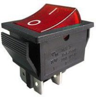 Vypínač kolébkový OFF-ON 2pol.250V/15A červený s doutnavkou