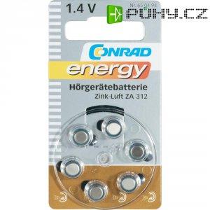 Knoflíková baterie Conrad energy ZA312, zinek/vzduch, 160 mAh, 1,4 V, 6 ks