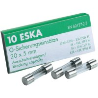 Jemná pojistka ESKA pomalá SICH 63MA T 522.505, 250 V, 0,063 A, skleněná trubice, 5 mm x 20 mm, 10 ks