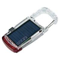 Solární kapesní LED svítilna Solio Clip Mini, 5 V před USB, červená