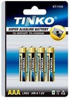 Baterie TINKO 1,5V AAA (LR03) alkalická, balení 4ks v blistru