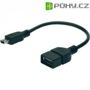 Kabel USB 2.0, USB mini B/USB zásuvka A, 0,2 m, Digitus