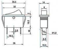 Přepínač kolébkový ON-OFF-ON 1pol.250V/16A