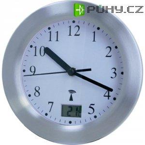 Analogové nástěnné DCF hodiny do koupelny, 17.5 cm, hliník