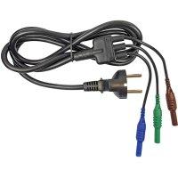 Měřicí kabel zástrčka euro ⇔ zástrčka 4 mm Cliff CIH29950, 1,5 m, modrá/zelená/hnědá
