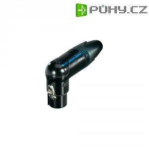 XLR kabelová zásuvka Neutrik NC3FRX-B, úhlová, 3pól., 3,5 - 8 mm, černá