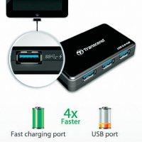 USB 3.0 hub s adaptérem Transcend, 4-portový