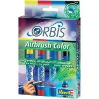 Airbrush barevné patrony Orbis, černá/žlutá/modrá/červená