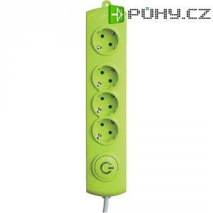 Zásuvková lišta GAO se spínačem, 4 zásuvky, zelená