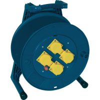 Plastový kabelový buben Jumbo, Ø 310 mm, 4 zásuvky, bez kabelu, modrá