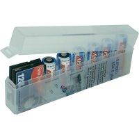Úložný box pro 8 baterií AA/AAA/fotobaterie CR-123/paměťové karty, 134 x 22 x 55 mm