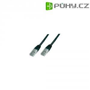 Patch kabel CAT 5e SF/UTP RJ 45, vidlice ⇔ vidlice, 0,25 m, černý