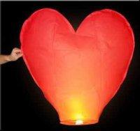 Lampion štěstí tvar srdce - červený
