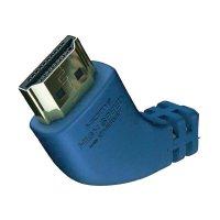 HDMI kabel s eth. vidlice ⇒ vidlice, konektrory 90°, 0,75 m, stříbrný, Inakustik