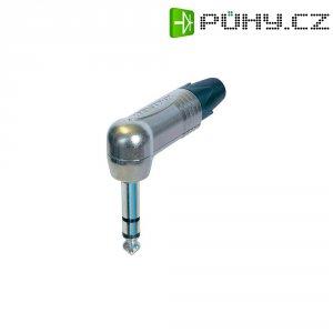 Jack konektor 6,35 mm stereo Neutrik NP3RX, zástrčka úhlová, 4 - 7 mm, 3pól., stříbrná