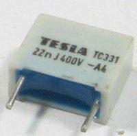 22n/400V TC331, svitkový kondenzátor radiální, RM=10mm