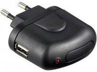 Napáječ PremiumCord 5V/1A, spínaný s USB zdířkou