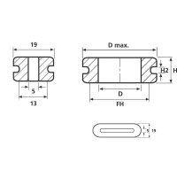Průchodka HellermannTyton HV1606-PVC-GY-D1, 633-06068, 11,0 x 3,0 mm, šedá