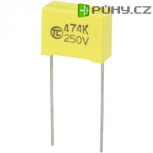 Foliový kondenzátor MKS, 0,47 µF, 250 V, 5 %, 18 x 7,5 x 13,5 mm