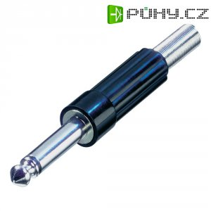 Jack konektor 6,35 mm mono Rean AV NYS203, zástrčka rovná, ≤ 6 mm, 2pól., stříbrná/černá