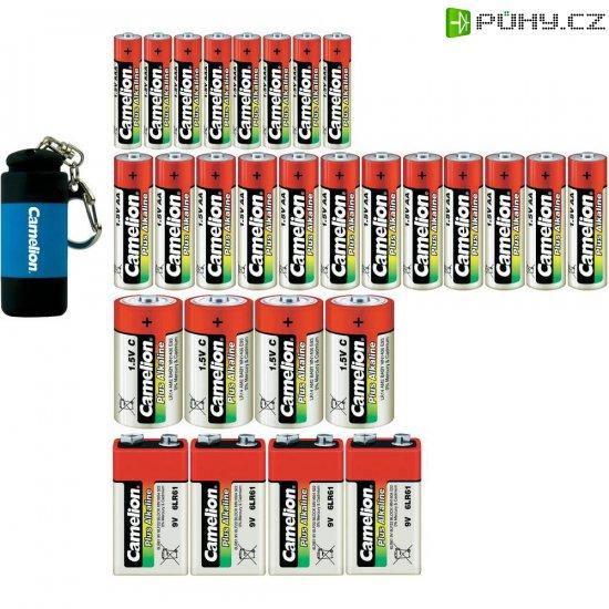 Sada baterií Camelion, 12x AA, 8x AAA, 4x C, 4x 9V, vč. svítilny - Kliknutím na obrázek zavřete