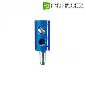 Miniaturní banánkový konektor, PVC, Ø: 2,6 mm, zástrčka rovná, modrá