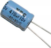 470u/10V 85° 8x12x3,5mm, elektrolyt.kondenzátor radiální