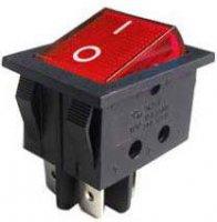 Vypínač kolébkový ON-OFF 2pol.250V/15A červený s doutnavkou
