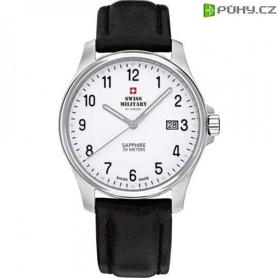6d1920450 Ručičkové náramkové hodinky Swiss Military, 20076ST-4L, pánské, kožený pásek,  černá/stříbrná