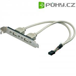 Adaptér se sloty 2x USB 2.0, 8-pinový, šedý, 0,2 m