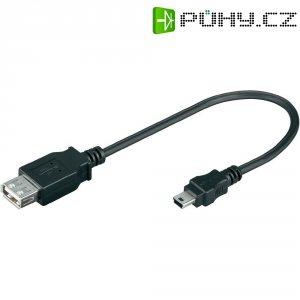 USB 2.0 kabel, USB 2.0 zástrčka mini-B ⇔ USB 2.0 zásuvka A, černá, 0,2 m