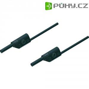 Měřicí kabel banánek 2 mm ⇔ banánek 2 mm SKS Hirschmann MVL S 25/1 Au, 0,25 m, černá