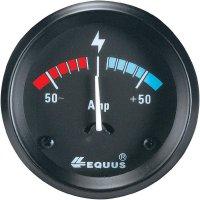 Analogový ampérmetr Equus, osvětlení: žlutá/zelená/červená, černá