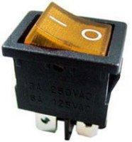 Vypínač kolébkový ON-OFF 2pol.250V/3A žlutý s doutnavkou