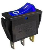 Vypínač kolébkový OFF-ON 1pol.250V/15A modrý