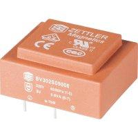 Transformátor do DPS Zettler Magnetics El30, prim: 230 V, Sek: 2x 15 V, 2x 20 mA, 0,6 VA
