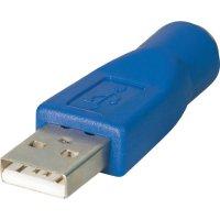 USB adaptér zástrčka USB Typ A  mini DIN zásuvka BKL Electronic 10120279, modrý