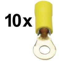 Kulaté kabelové oko Sinuslive RKS-4,0 P10 RKS-4,0 P10, průřez 4 mm², částečná izolace, žlutá, 10 ks