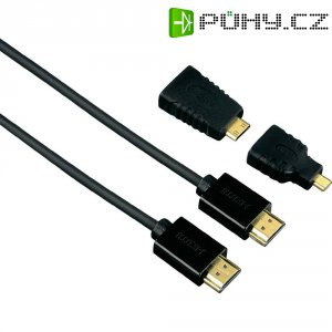 HDMI kabel Hama HS, ethernet, 1,5 m + 2 HDMI adaptér