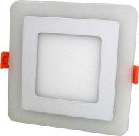 Nouzové a podhledové světlo LED 230V/2,5+6W, modré/teple bílé, čtverec