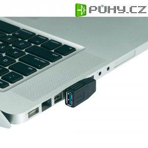 Adaptér USB 3.0, úhlový levý, A/A, černý
