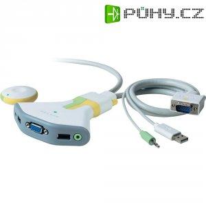 Přepínač KVM se 2 porty Belkin, USB + audio s bezdrátovým dálkovým ovládáním