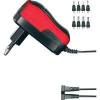 Síťový adaptér s redukcemi Voltcraft USPS-600, 3 - 12 V/DC, 7,2 W, červená