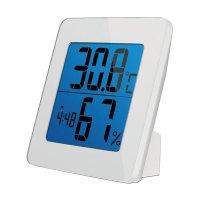 Teploměr TE13W bílý teplota, vlhkost, budík, LCD displej, bílý rámeček SOLIGHT