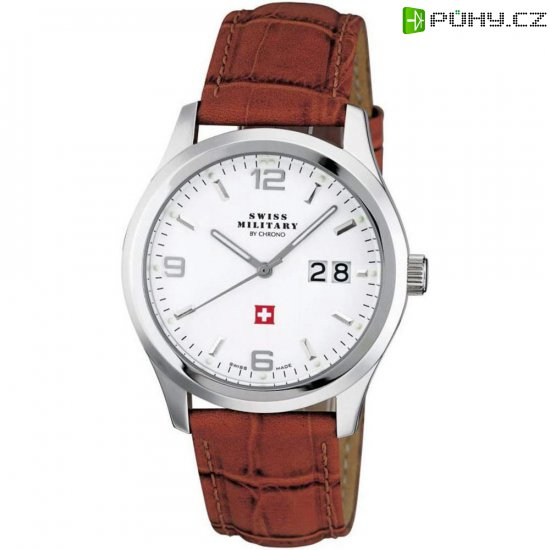 912223ba0 Ručičkové náramkové hodinky Swiss Military, 20009ST-2L, pánské, kožený pásek,  hnědá