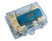 Pojistkový distribuční blok HighAmp 1in-2out LED U-metr