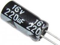 220u/16V 105° 6x11x3,5mm, elektrolyt.kondenzátor radiální