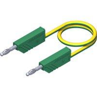 Měřicí kabel banánek 4 mm ⇔ banánek 4 mm SKS Hirschmann CO MLN 25/2,5, 0,25 m,zelená/žlutá