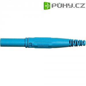 Laboratorní konektor Ø 4 mm MultiContact 66.9196-23, zástrčka rovná, modrá